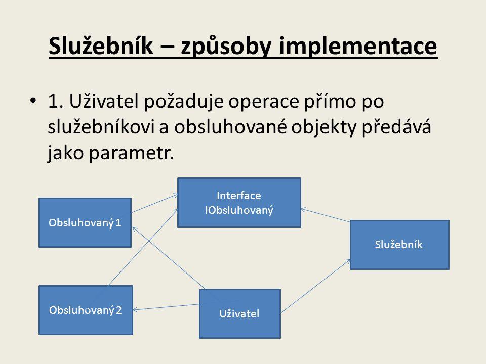 Služebník – způsoby implementace 1. Uživatel požaduje operace přímo po služebníkovi a obsluhované objekty předává jako parametr. Obsluhovaný 1 Obsluho
