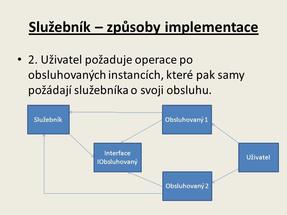 Služebník – způsoby implementace 2. Uživatel požaduje operace po obsluhovaných instancích, které pak samy požádají služebníka o svoji obsluhu. Služebn