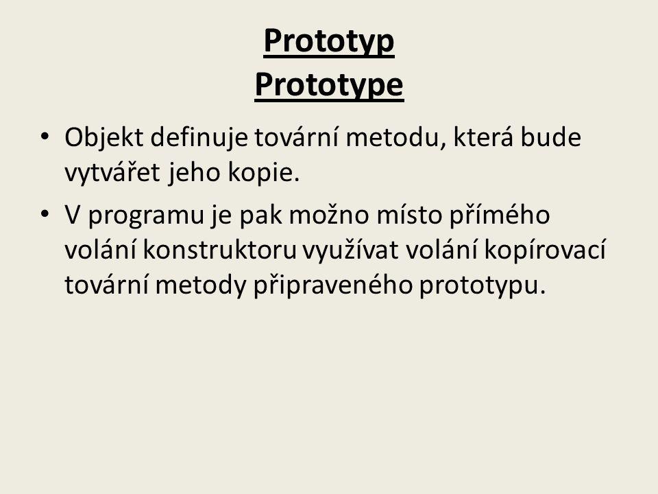Prototyp Prototype Objekt definuje tovární metodu, která bude vytvářet jeho kopie. V programu je pak možno místo přímého volání konstruktoru využívat