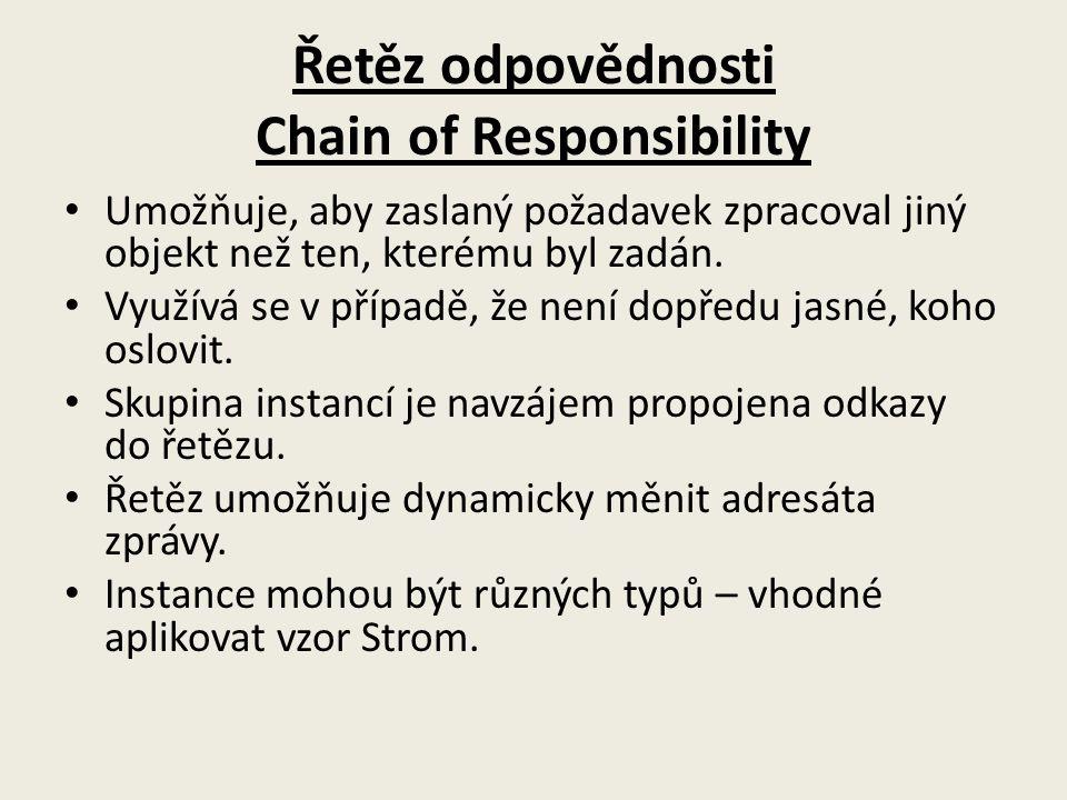 Řetěz odpovědnosti Chain of Responsibility Umožňuje, aby zaslaný požadavek zpracoval jiný objekt než ten, kterému byl zadán. Využívá se v případě, že