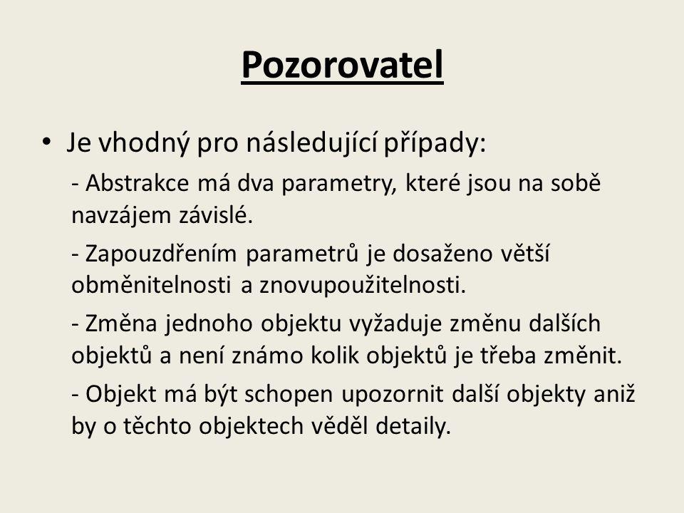 Pozorovatel Je vhodný pro následující případy: - Abstrakce má dva parametry, které jsou na sobě navzájem závislé.