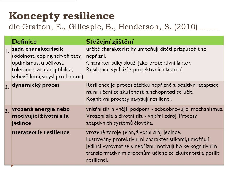 Koncepty resilience dle Grafton, E., Gillespie, B., Henderson, S. (2010)