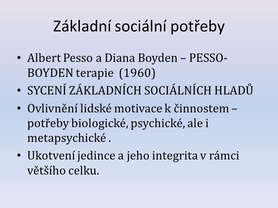 Základní sociální potřeby Albert Pesso a Diana Boyden – PESSO- BOYDEN terapie (1960) SYCENÍ ZÁKLADNÍCH SOCIÁLNÍCH HLADŮ Ovlivnění lidské motivace k či