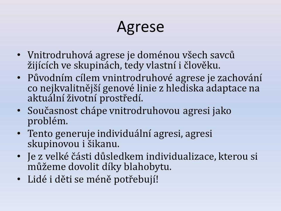 Agrese Vnitrodruhová agrese je doménou všech savců žijících ve skupinách, tedy vlastní i člověku. Původním cílem vnintrodruhové agrese je zachování co