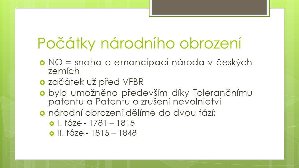 Počátky národního obrození  NO = snaha o emancipaci národa v českých zemích  začátek už před VFBR  bylo umožněno především díky Tolerančnímu patentu a Patentu o zrušení nevolnictví  národní obrození dělíme do dvou fází:  I.