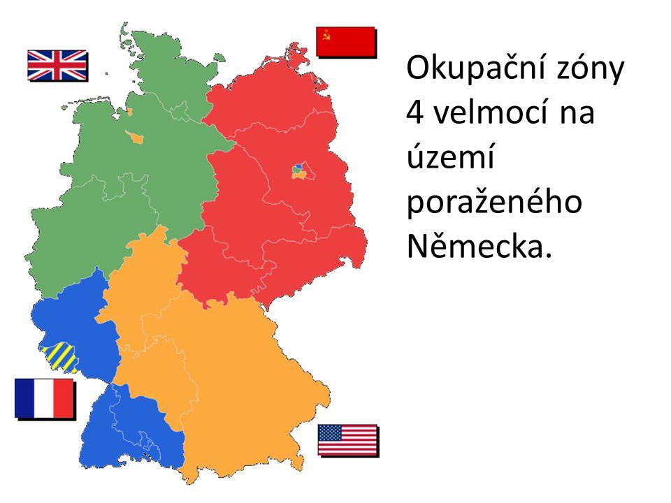 Okupační zóny 4 velmocí na území poraženého Německa.