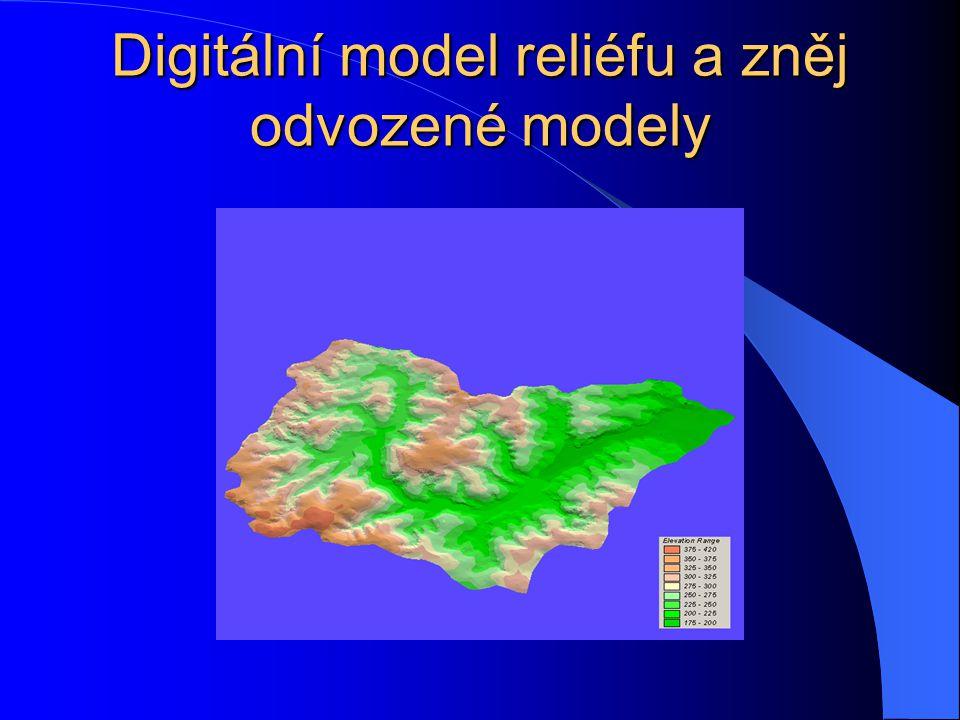 Reliéf: – sklonitost – orientace ke světovým stranám – odvození vrstevnic – generování linií toků – generování povodí a subpovodí Analýza vzdáleností