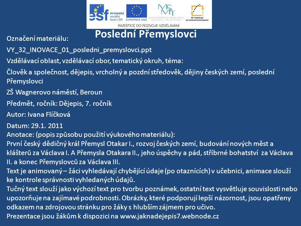 Dějiny českých zemí Poslední Přemyslovci uč. 93 - 97