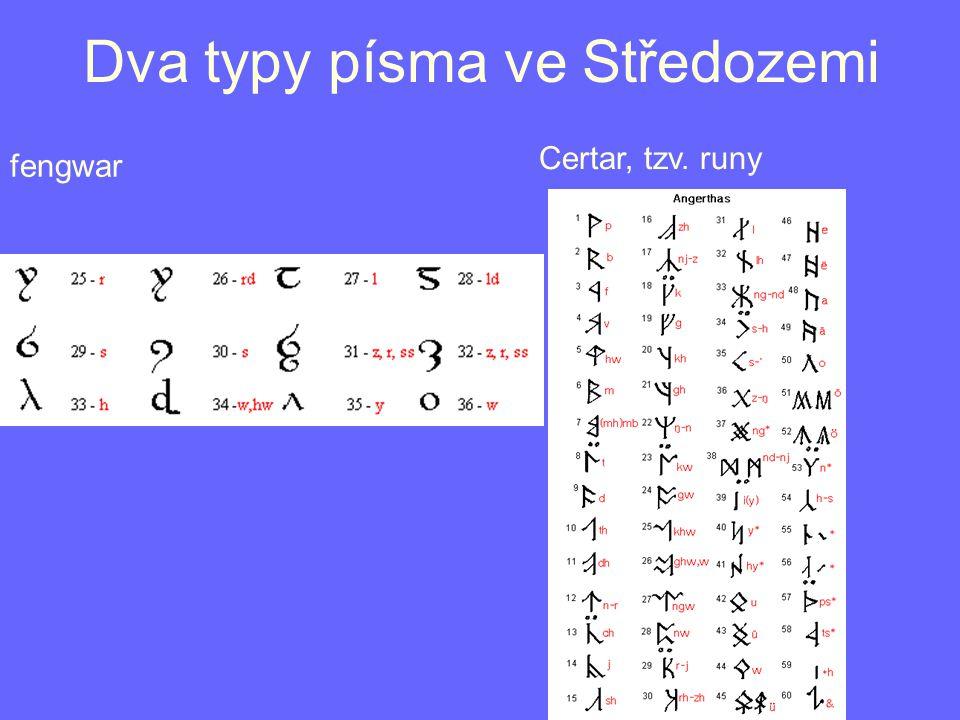 Dva typy písma ve Středozemi fengwar Certar, tzv. runy