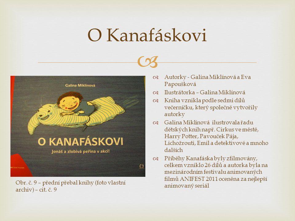  O Kanafáskovi  Autorky - Galina Miklínová a Eva Papoušková  Ilustrátorka – Galina Miklínová  Kniha vznikla podle sedmi dílů večerníčku, který spo