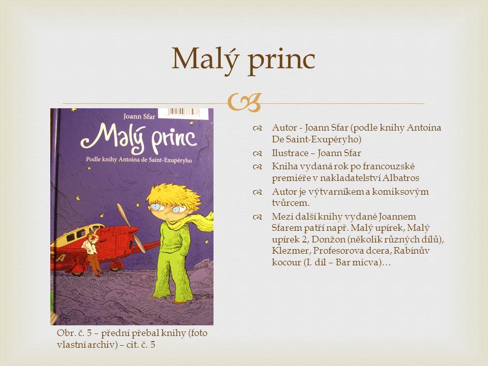  Malý princ  Autor - Joann Sfar (podle knihy Antoina De Saint-Exupéryho)  Ilustrace – Joann Sfar  Kniha vydaná rok po francouzské premiéře v nakla