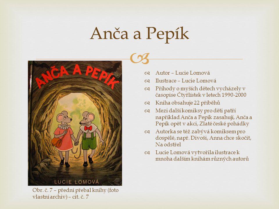  Anča a Pepík  Autor – Lucie Lomová  Ilustrace – Lucie Lomová  Příhody o myších dětech vycházely v časopise Čtyřlístek v letech 1990-2000  Kniha
