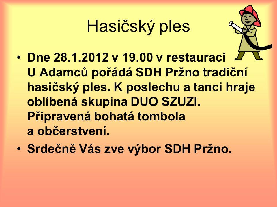 Hasičský ples Dne 28.1.2012 v 19.00 v restauraci U Adamců pořádá SDH Pržno tradiční hasičský ples. K poslechu a tanci hraje oblíbená skupina DUO SZUZI