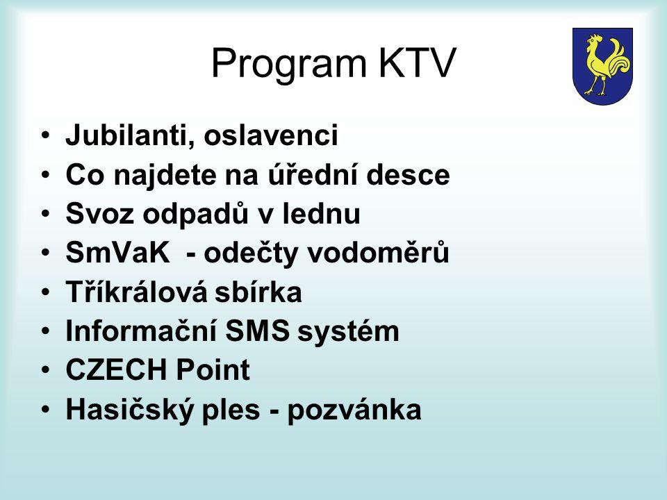 Program KTV Jubilanti, oslavenci Co najdete na úřední desce Svoz odpadů v lednu SmVaK - odečty vodoměrů Tříkrálová sbírka Informační SMS systém CZECH Point Hasičský ples - pozvánka