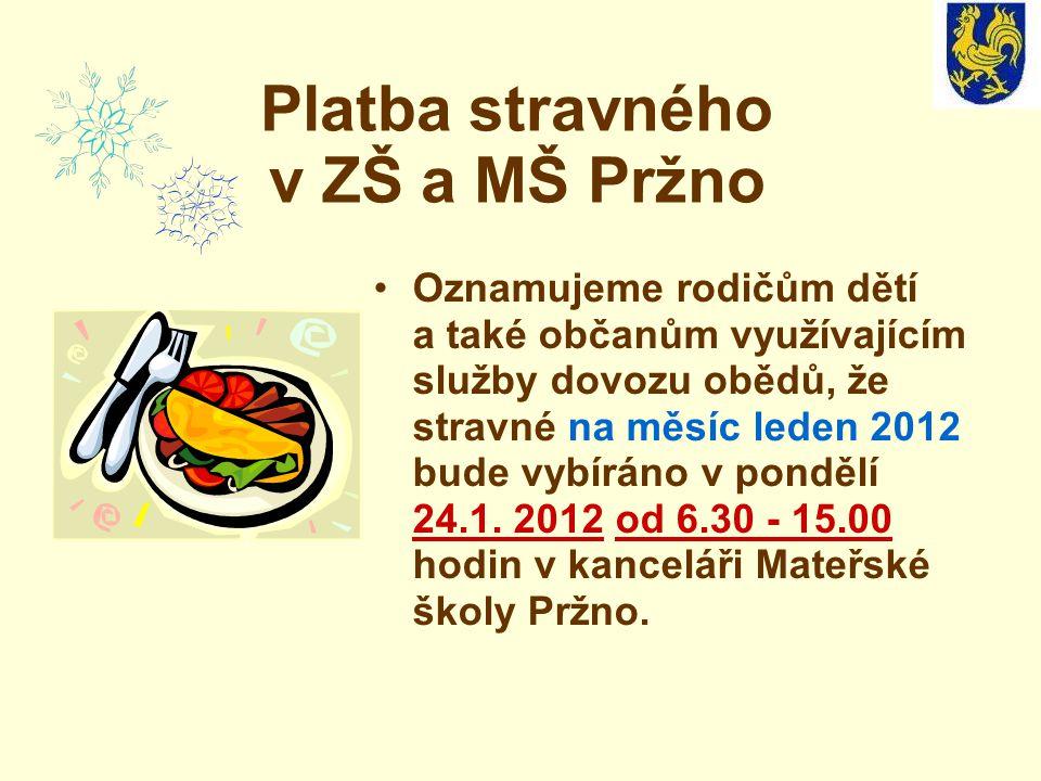 Platba stravného v ZŠ a MŠ Pržno Oznamujeme rodičům dětí a také občanům využívajícím služby dovozu obědů, že stravné na měsíc leden 2012 bude vybíráno v pondělí 24.1.