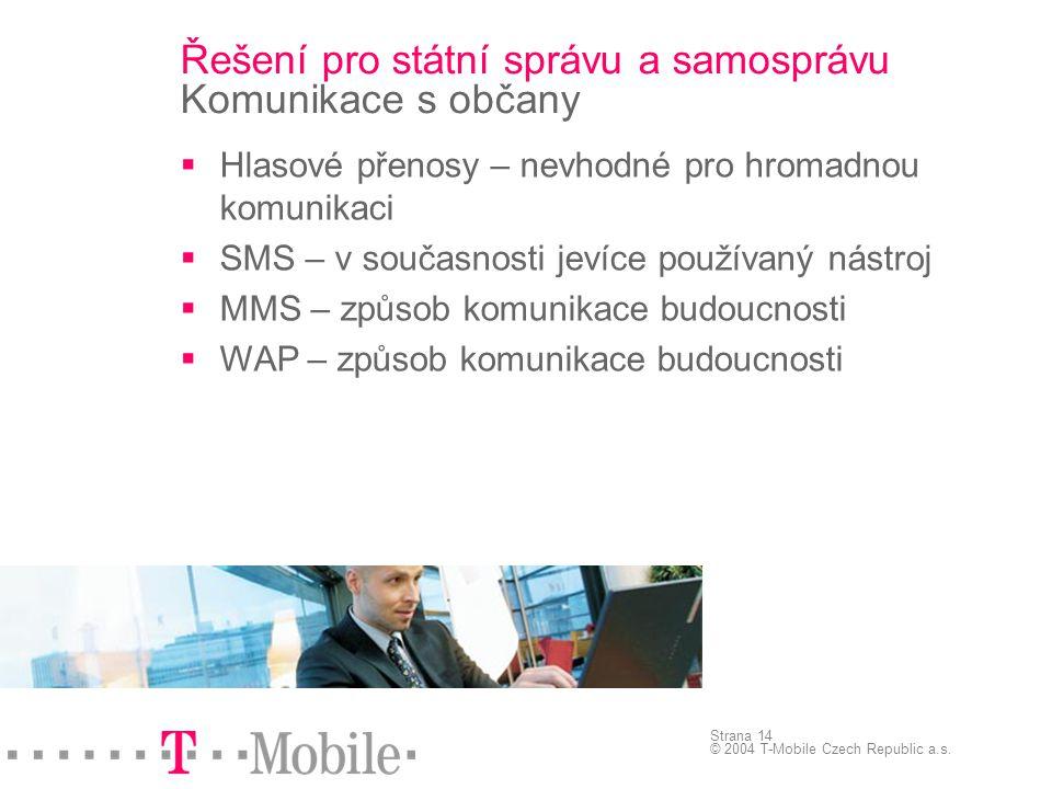 Strana 14 © 2004 T-Mobile Czech Republic a.s. Řešení pro státní správu a samosprávu Komunikace s občany  Hlasové přenosy – nevhodné pro hromadnou kom