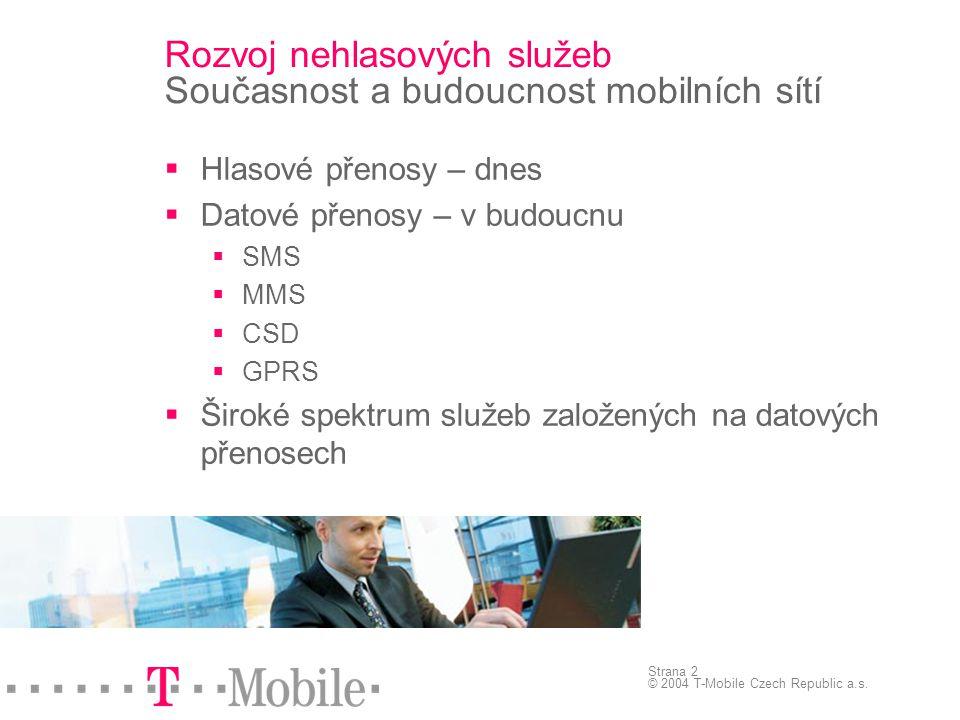 Strana 2 © 2004 T-Mobile Czech Republic a.s.  Hlasové přenosy – dnes  Datové přenosy – v budoucnu  SMS  MMS  CSD  GPRS  Široké spektrum služeb