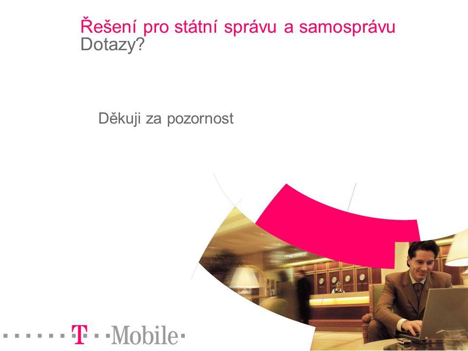 Strana 20 © 2004 T-Mobile Czech Republic a.s. Řešení pro státní správu a samosprávu Dotazy? Děkuji za pozornost