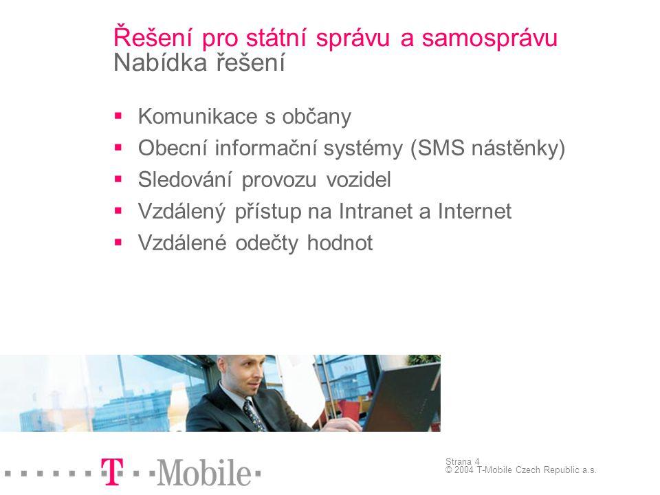 Strana 4 © 2004 T-Mobile Czech Republic a.s.  Komunikace s občany  Obecní informační systémy (SMS nástěnky)  Sledování provozu vozidel  Vzdálený p