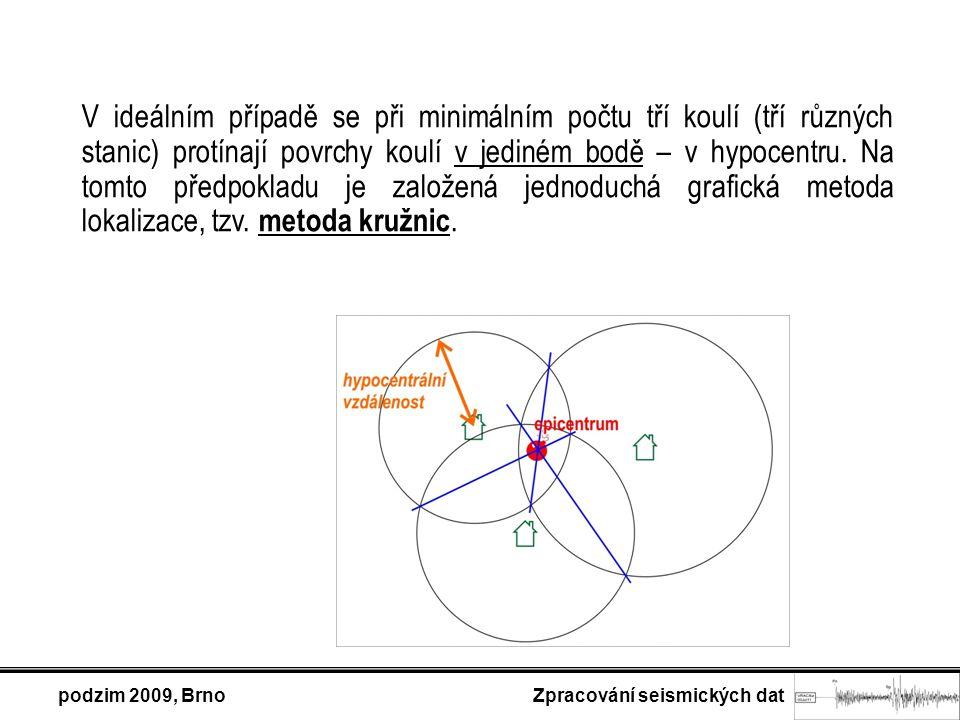 podzim 2009, Brno Zpracování seismických dat V ideálním případě se při minimálním počtu tří koulí (tří různých stanic) protínají povrchy koulí v jediném bodě – v hypocentru.
