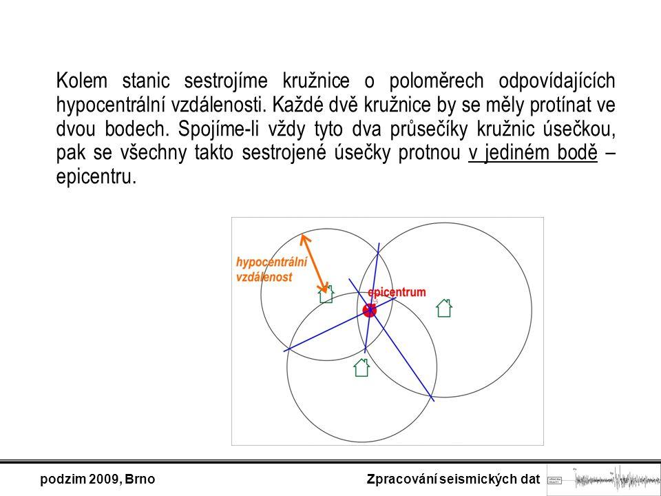 podzim 2009, Brno Zpracování seismických dat Kolem stanic sestrojíme kružnice o poloměrech odpovídajících hypocentrální vzdálenosti.