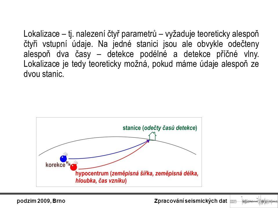 podzim 2009, Brno Zpracování seismických dat Lokalizace – tj.