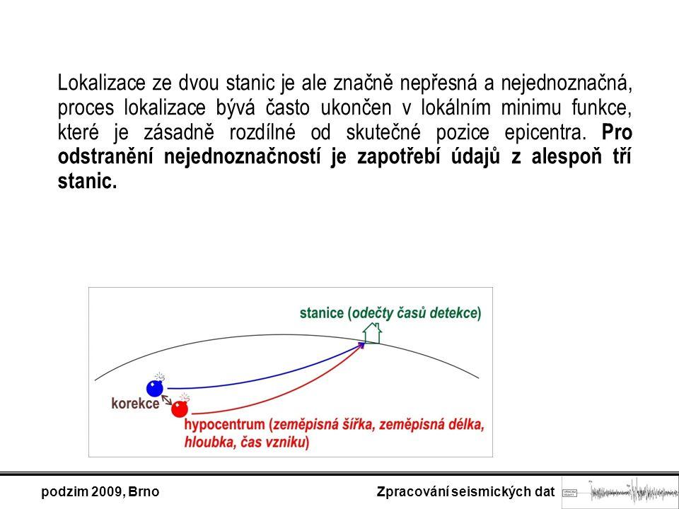 podzim 2009, Brno Zpracování seismických dat Lokalizace ze dvou stanic je ale značně nepřesná a nejednoznačná, proces lokalizace bývá často ukončen v lokálním minimu funkce, které je zásadně rozdílné od skutečné pozice epicentra.