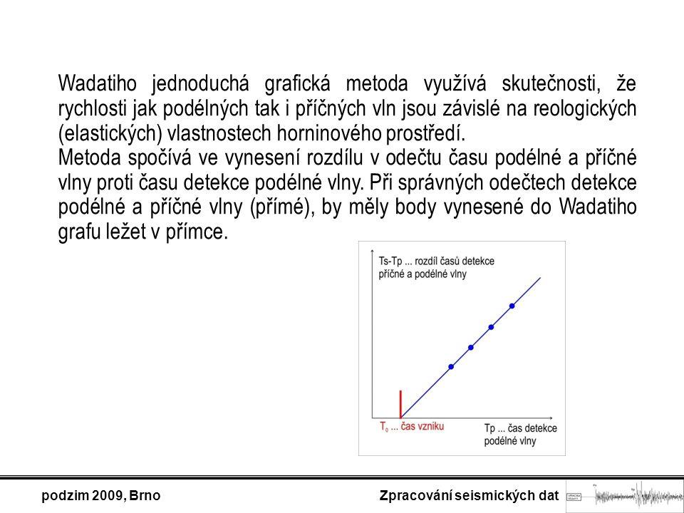podzim 2009, Brno Zpracování seismických dat Wadatiho jednoduchá grafická metoda využívá skutečnosti, že rychlosti jak podélných tak i příčných vln jsou závislé na reologických (elastických) vlastnostech horninového prostředí.
