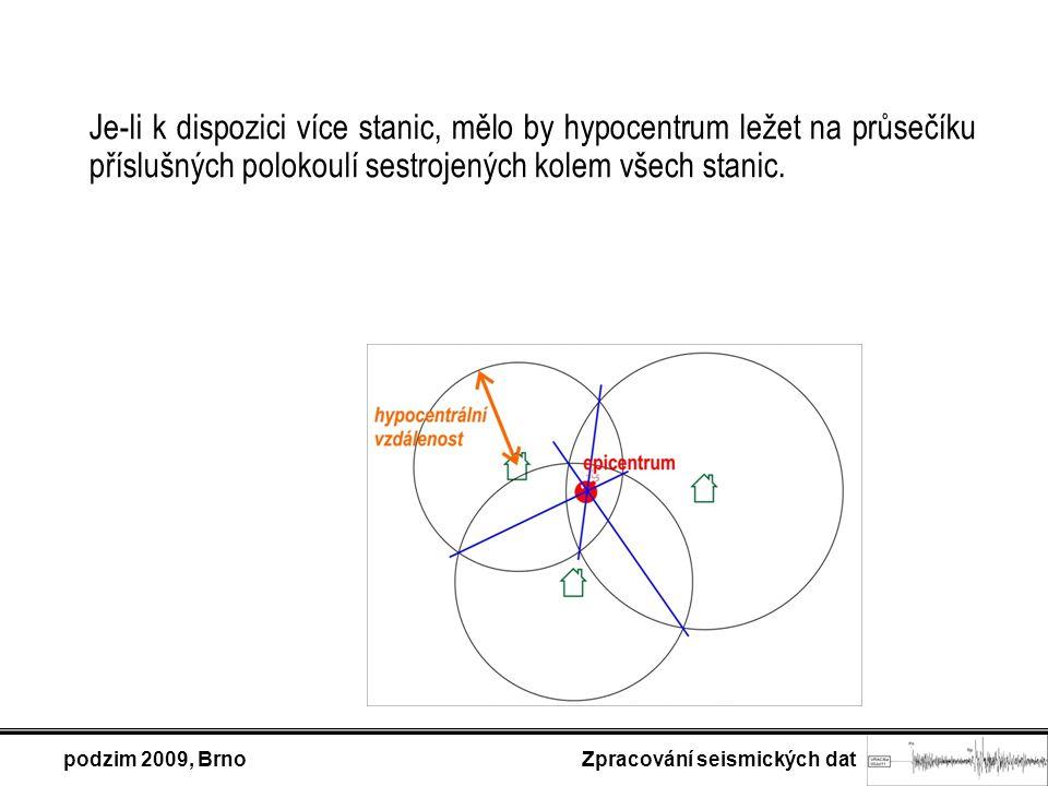 podzim 2009, Brno Zpracování seismických dat Je-li k dispozici více stanic, mělo by hypocentrum ležet na průsečíku příslušných polokoulí sestrojených kolem všech stanic.