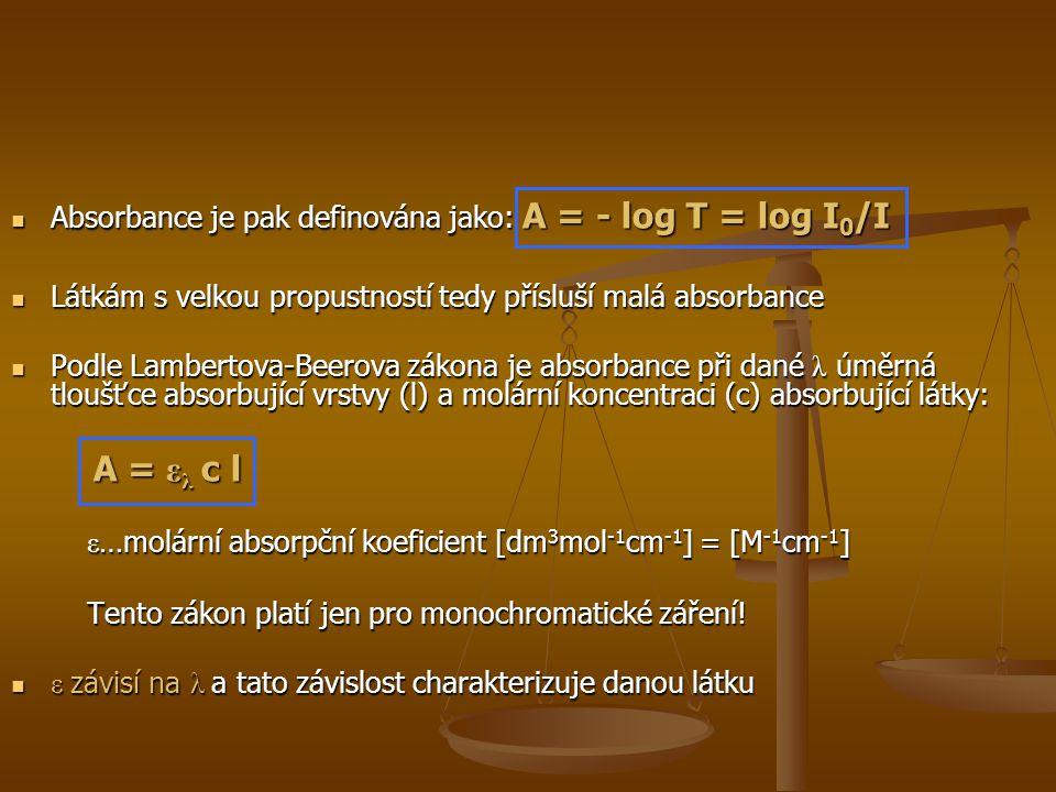 Absorbance je pak definována jako: A = - log T = log I 0 /I Absorbance je pak definována jako: A = - log T = log I 0 /I Látkám s velkou propustností tedy přísluší malá absorbance Látkám s velkou propustností tedy přísluší malá absorbance Podle Lambertova-Beerova zákona je absorbance při dané λ úměrná tloušťce absorbující vrstvy (l) a molární koncentraci (c) absorbující látky: Podle Lambertova-Beerova zákona je absorbance při dané λ úměrná tloušťce absorbující vrstvy (l) a molární koncentraci (c) absorbující látky: A = ε λ c l A = ε λ c l ε …molární absorpční koeficient [dm 3 mol -1 cm -1 ] = [M -1 cm -1 ] ε …molární absorpční koeficient [dm 3 mol -1 cm -1 ] = [M -1 cm -1 ] Tento zákon platí jen pro monochromatické záření.