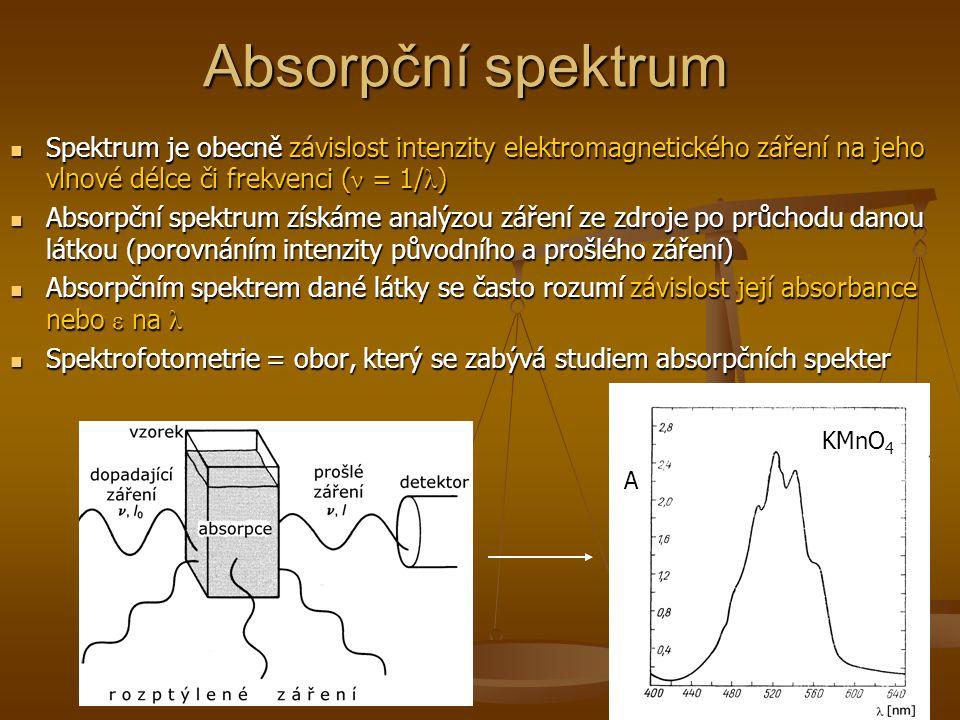 Absorpční spektrum Spektrum je obecně závislost intenzity elektromagnetického záření na jeho vlnové délce či frekvenci ( ν = 1/ λ ) Spektrum je obecně