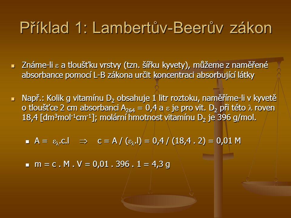 Příklad 1: Lambertův-Beerův zákon Známe-li ε a tloušťku vrstvy (tzn. šířku kyvety), můžeme z naměřené absorbance pomocí L-B zákona určit koncentraci a