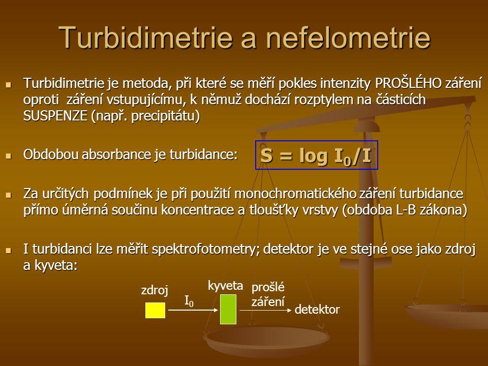 Turbidimetrie a nefelometrie Turbidimetrie je metoda, při které se měří pokles intenzity PROŠLÉHO záření oproti záření vstupujícímu, k němuž dochází r