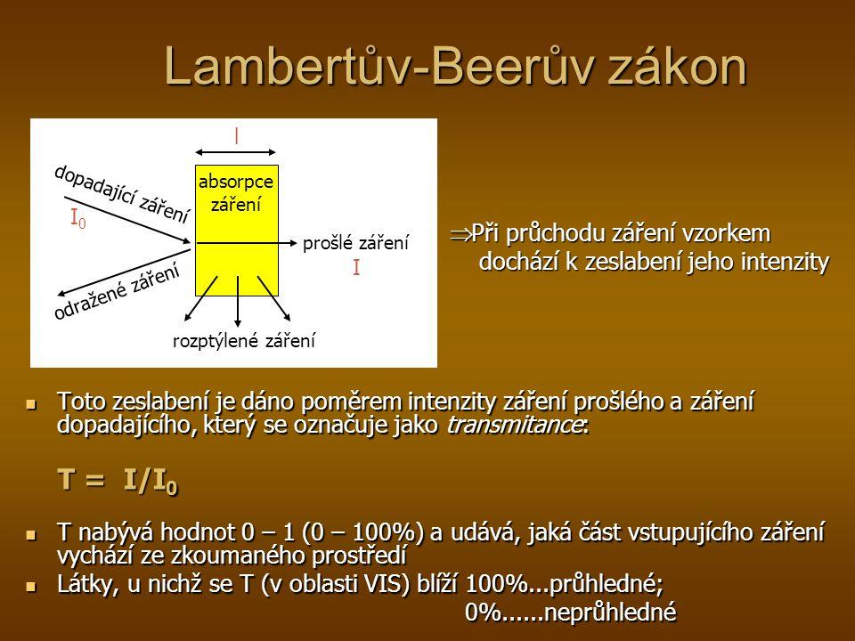 Lambertův-Beerův zákon Toto zeslabení je dáno poměrem intenzity záření prošlého a záření dopadajícího, který se označuje jako transmitance: T = I/I 0 T nabývá hodnot 0 – 1 (0 – 100%) a udává, jaká část vstupujícího záření vychází ze zkoumaného prostředí Látky, u nichž se T (v oblasti VIS) blíží 100%...průhledné; 0%......neprůhledné dopadající záření odražené záření rozptýlené záření prošlé záření absorpce záření I0I0 I  Při průchodu záření vzorkem dochází k zeslabení jeho intenzity dochází k zeslabení jeho intenzity l