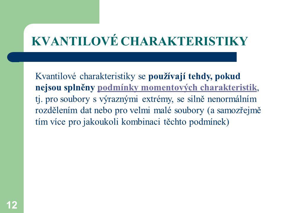 KVANTILOVÉ CHARAKTERISTIKY 12 Kvantilové charakteristiky se používají tehdy, pokud nejsou splněny podmínky momentových charakteristik, tj. pro soubory