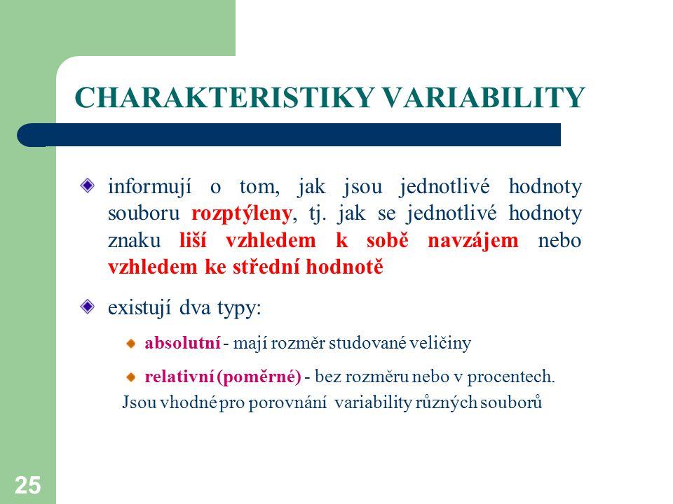 25 CHARAKTERISTIKY VARIABILITY informují o tom, jak jsou jednotlivé hodnoty souboru rozptýleny, tj. jak se jednotlivé hodnoty znaku liší vzhledem k so