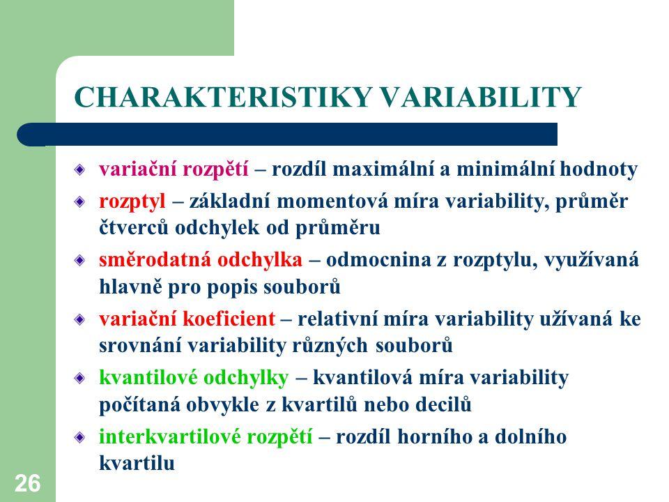 26 CHARAKTERISTIKY VARIABILITY variační rozpětí – rozdíl maximální a minimální hodnoty rozptyl – základní momentová míra variability, průměr čtverců o