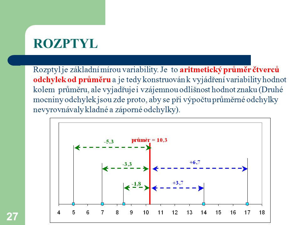 27 ROZPTYL Rozptyl je základní mírou variability. Je to aritmetický průměr čtverců odchylek od průměru a je tedy konstruován k vyjádření variability h