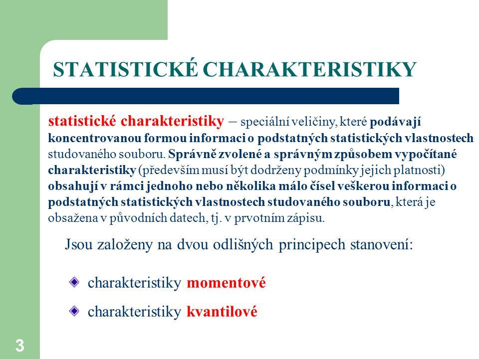 3 STATISTICKÉ CHARAKTERISTIKY statistické charakteristiky – speciální veličiny, které podávají koncentrovanou formou informaci o podstatných statistic