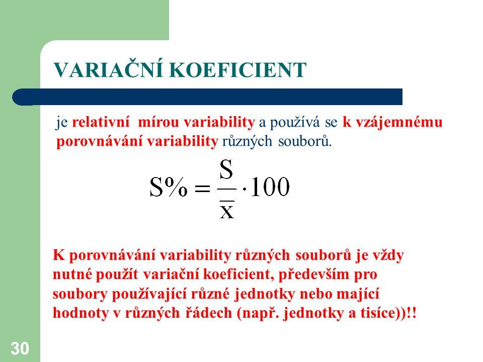30 VARIAČNÍ KOEFICIENT je relativní mírou variability a používá se k vzájemnému porovnávání variability různých souborů. K porovnávání variability růz