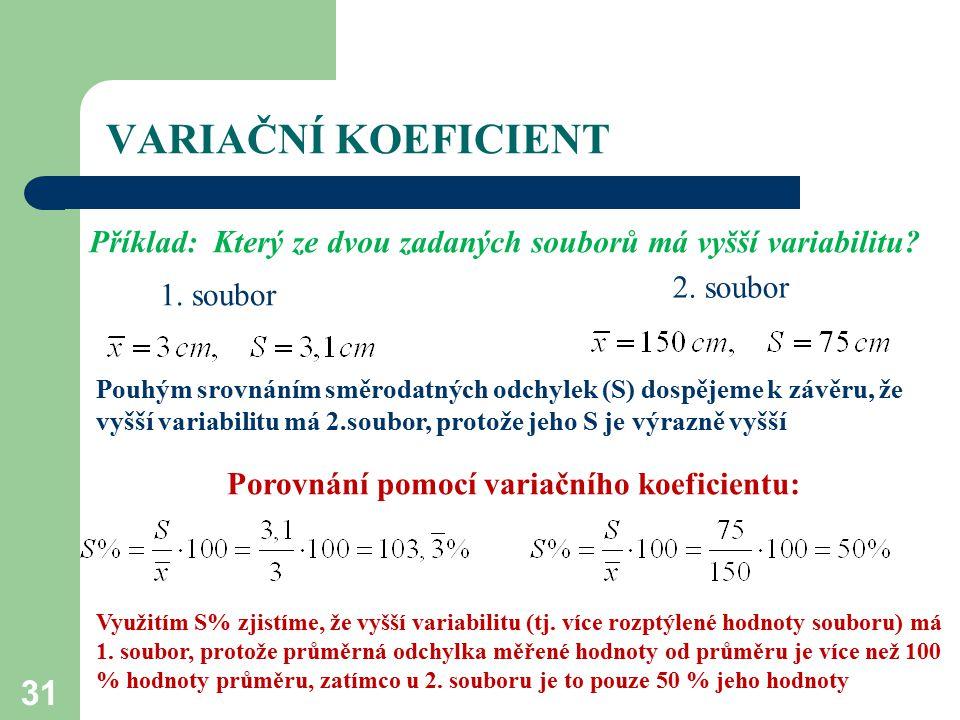 31 VARIAČNÍ KOEFICIENT Příklad: Který ze dvou zadaných souborů má vyšší variabilitu? 1. soubor 2. soubor Pouhým srovnáním směrodatných odchylek (S) do
