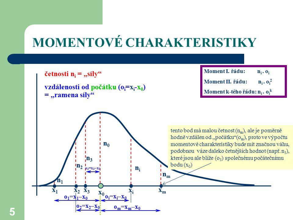 26 CHARAKTERISTIKY VARIABILITY variační rozpětí – rozdíl maximální a minimální hodnoty rozptyl – základní momentová míra variability, průměr čtverců odchylek od průměru směrodatná odchylka – odmocnina z rozptylu, využívaná hlavně pro popis souborů variační koeficient – relativní míra variability užívaná ke srovnání variability různých souborů kvantilové odchylky – kvantilová míra variability počítaná obvykle z kvartilů nebo decilů interkvartilové rozpětí – rozdíl horního a dolního kvartilu