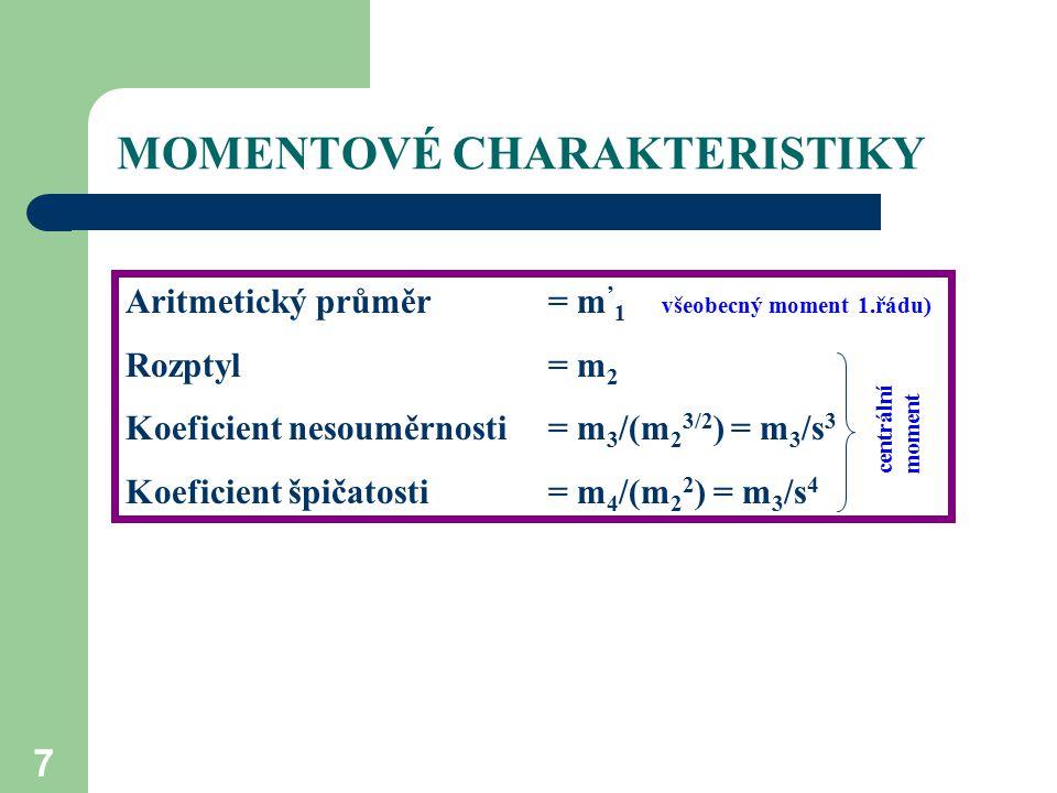 """MOMENTOVÉ CHARAKTERISTIKY 8 Vlastnosti momentových charakteristik: jsou vypočítány ze všech hodnot souboru (z toho vyplývá, že obsahují úplnou statistickou informaci, a proto se používají jako nejlepší charakteristiky prioritně, pokud jsou splněny níže uvedené podmínky), nejsou vhodné pro soubory s extrémními hodnotami rozdělení hodnot souboru musí odpovídat normálnímu (Gaussovu) rozdělení (viz prezentace """"rozdělení nebo teorie text I, str."""