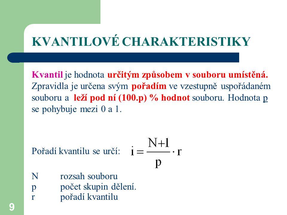 9 KVANTILOVÉ CHARAKTERISTIKY Kvantil je hodnota určitým způsobem v souboru umístěná. Zpravidla je určena svým pořadím ve vzestupně uspořádaném souboru