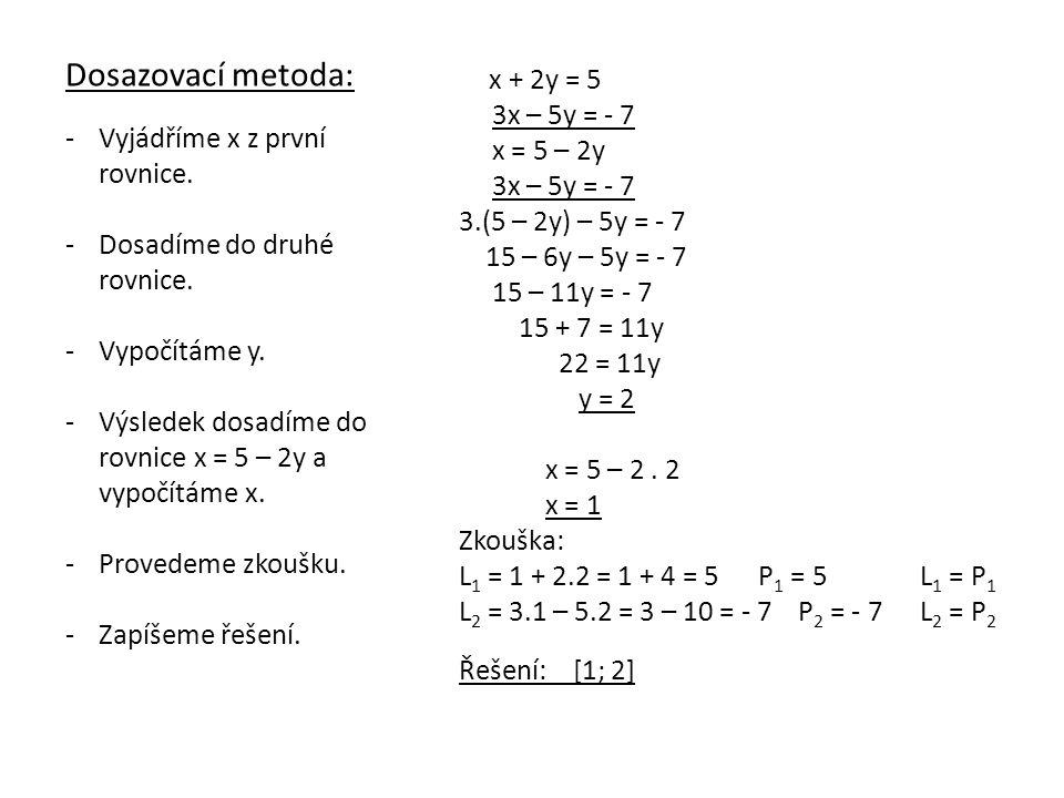 Sčítací metoda: -Obě rovnice vhodně vynásobíme.