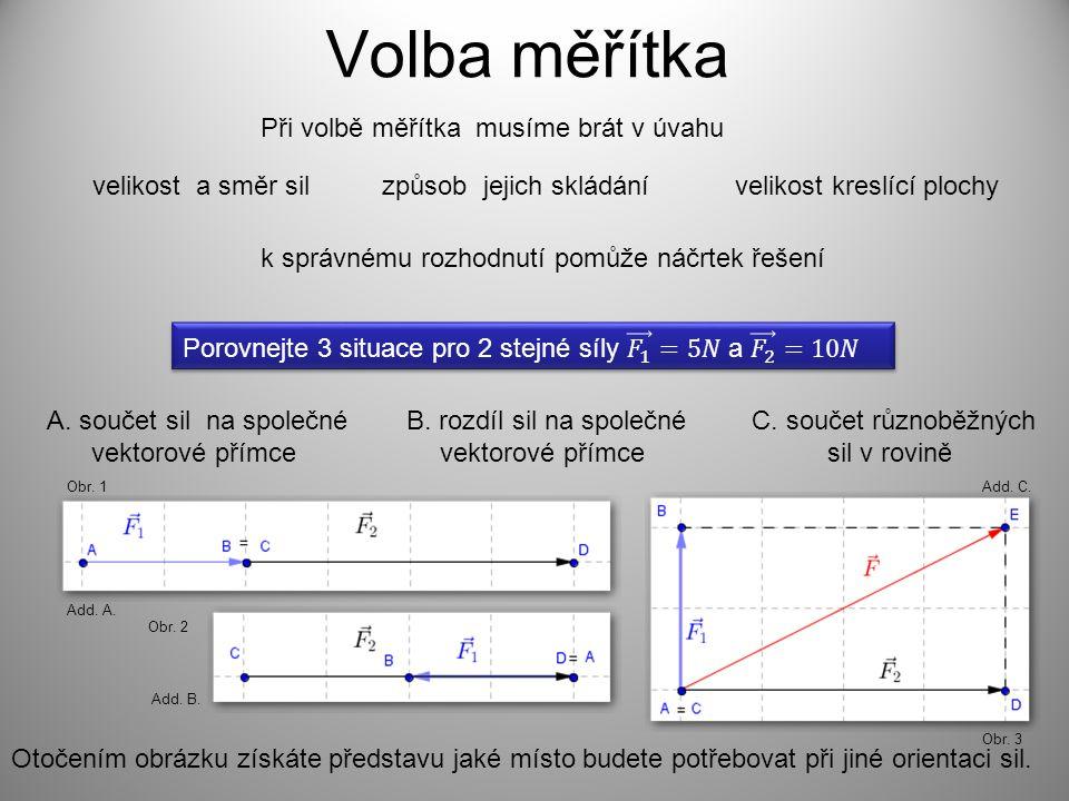 Volba měřítka Při volbě měřítka musíme brát v úvahu velikost a směr silzpůsob jejich skládánívelikost kreslící plochy k správnému rozhodnutí pomůže náčrtek řešení A.