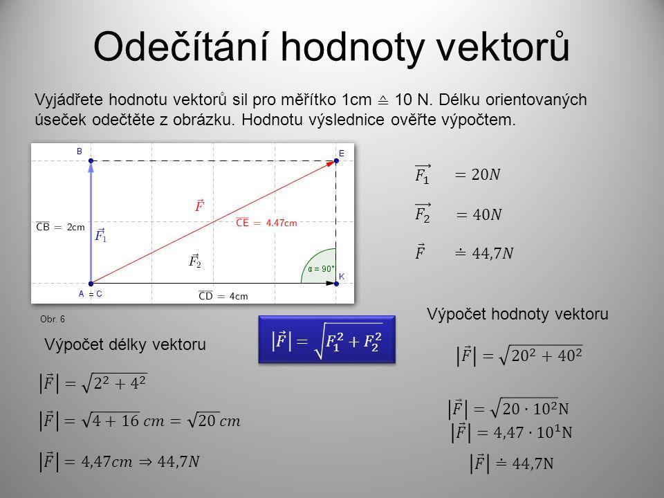 Odečítání hodnoty vektorů Vyjádřete hodnotu vektorů sil pro měřítko 1cm ≙ 10 N.