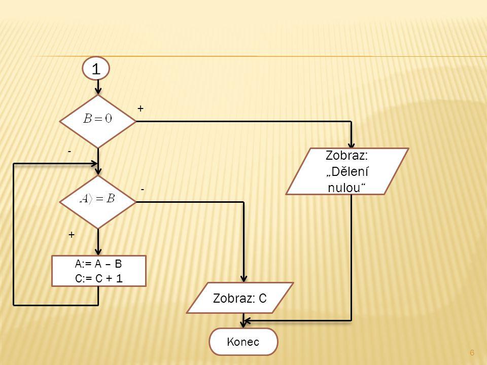 """6 1 + - - + A:= A – B C:= C + 1 Zobraz: """"Dělení nulou Zobraz: C Konec"""