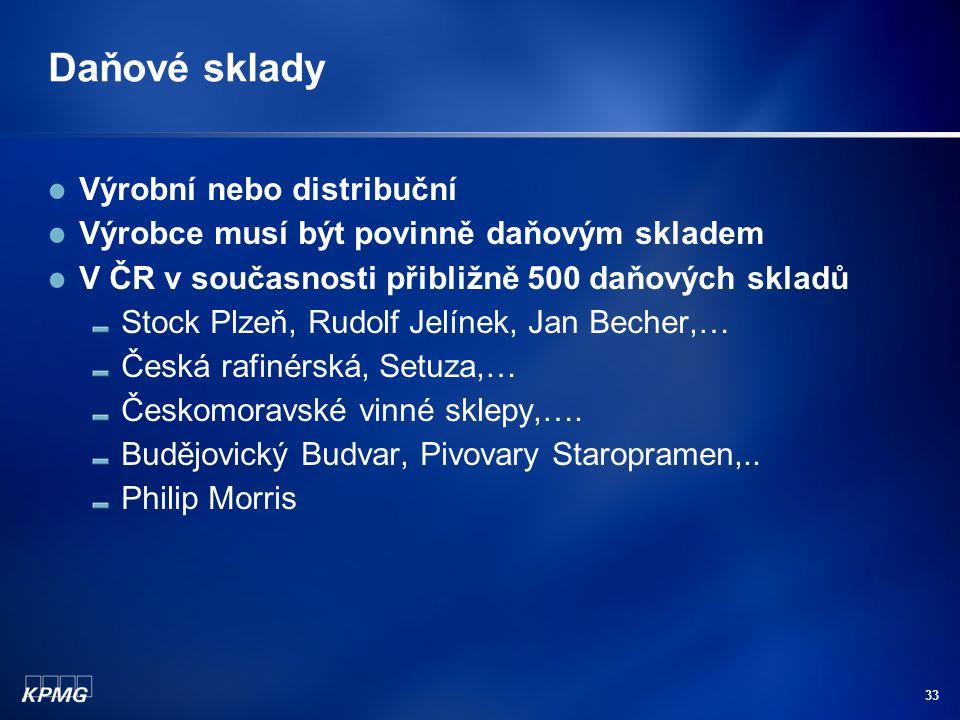 33 Daňové sklady Výrobní nebo distribuční Výrobce musí být povinně daňovým skladem V ČR v současnosti přibližně 500 daňových skladů Stock Plzeň, Rudol