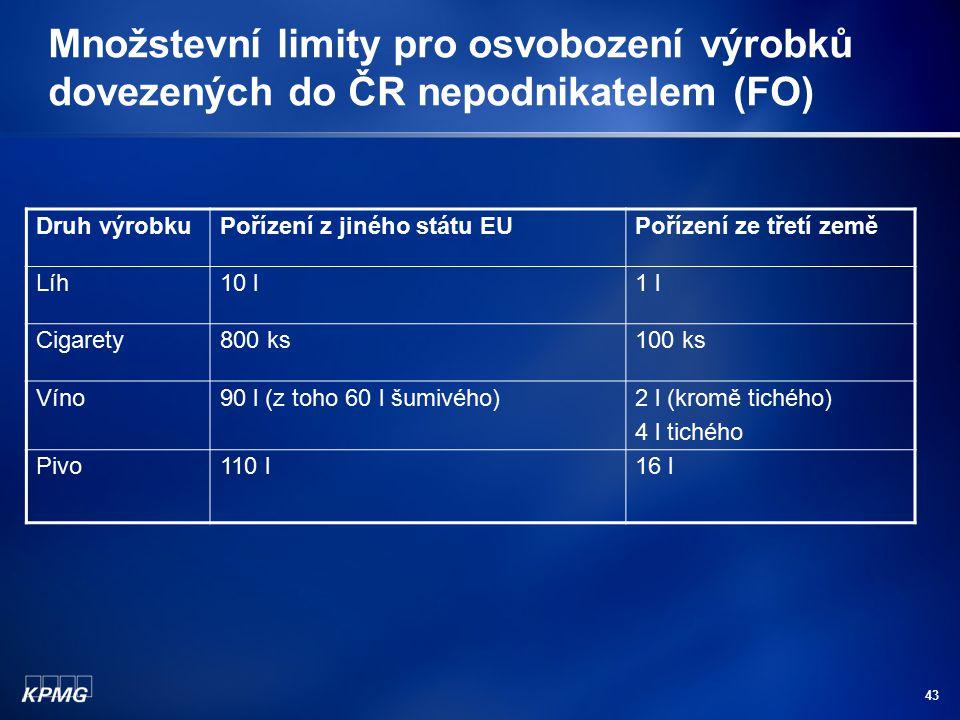 43 Množstevní limity pro osvobození výrobků dovezených do ČR nepodnikatelem (FO) Druh výrobkuPořízení z jiného státu EUPořízení ze třetí země Líh10 l1